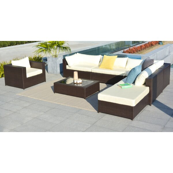Gracey Rattan Sectional Sofa Set with Cushions by Orren Ellis Orren Ellis