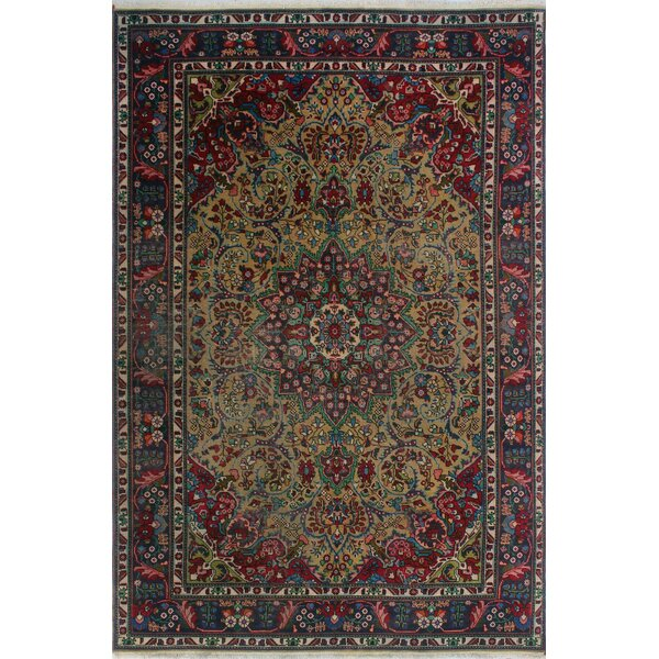 One-of-a-Kind Millikan Distressed Calvin Hand-Knotted Wool Red/Blue/Beige Area Rug by Bloomsbury Market