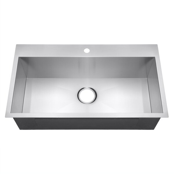 32 x 18 Drop-In Top Mount Stainless Steel Single Bowl Kitchen Sink by AKDY