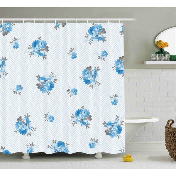 Burnes Blue Romantic Flower Decor Print Shower Curtain by August Grove