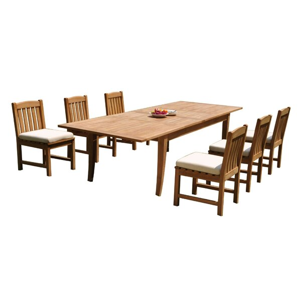 Grattan 7 Piece Teak Dining Set by Rosecliff Heights