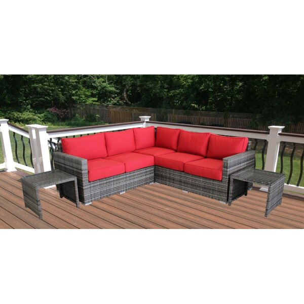 Darien 5 Piece Rattan Sunbrella Sectional Seating Group with Sunbrella Cushions by Orren Ellis