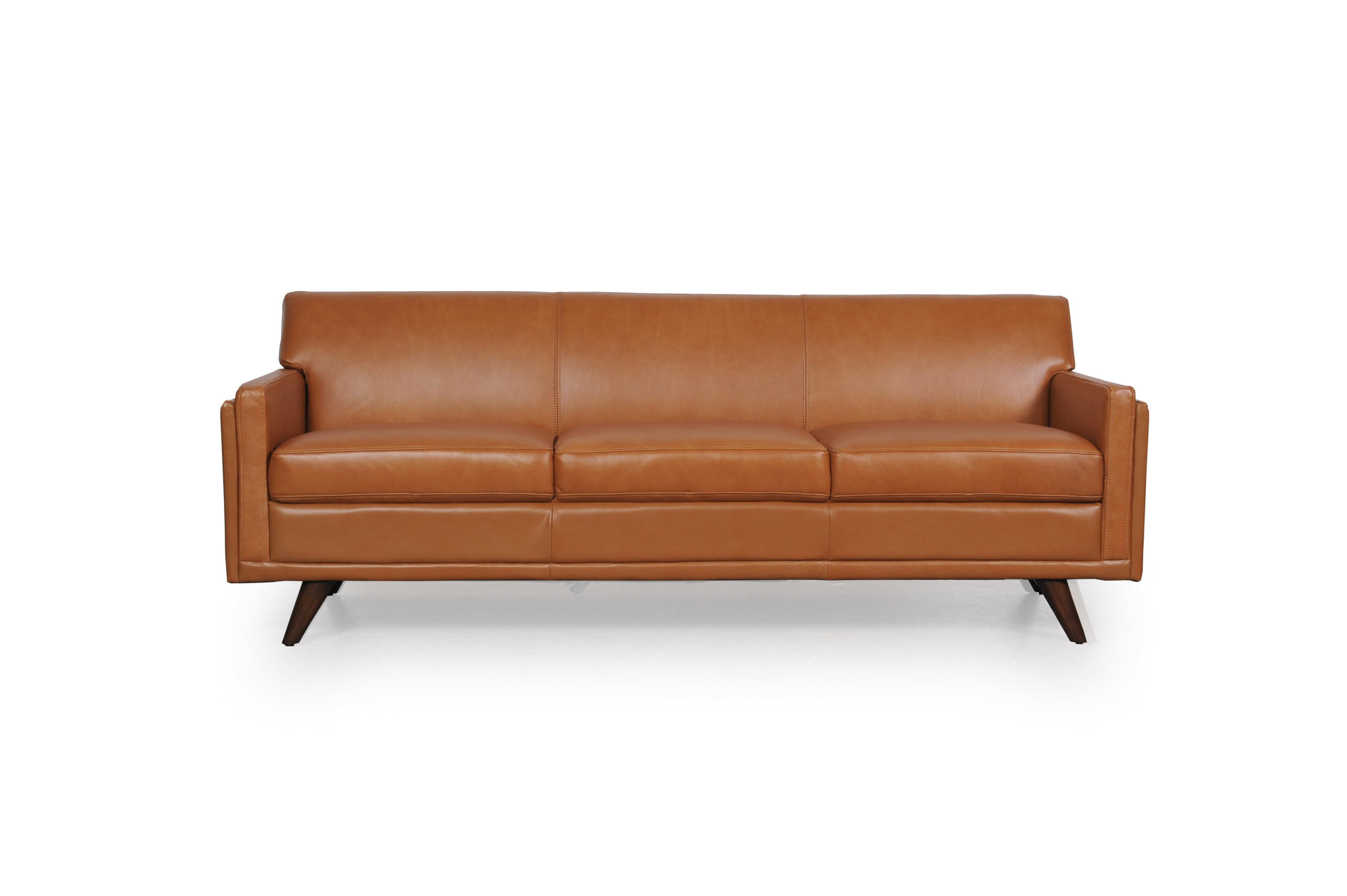 Corrigan Studio Ari 80 5 Wide Genuine Leather Square Arm Sofa Wayfair