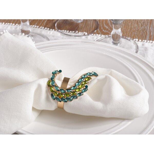Jeweled Peacock Tail Napkin Ring (Set of 4) by Rosdorf Park