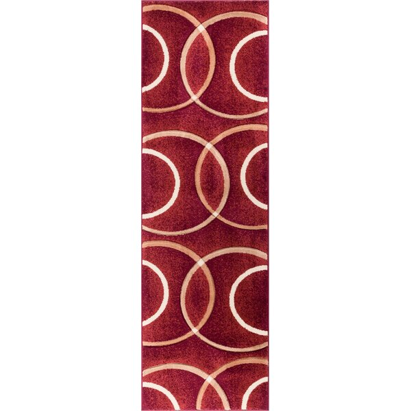 Bernard Chester Circles Modern Red Area Rug by Orren Ellis