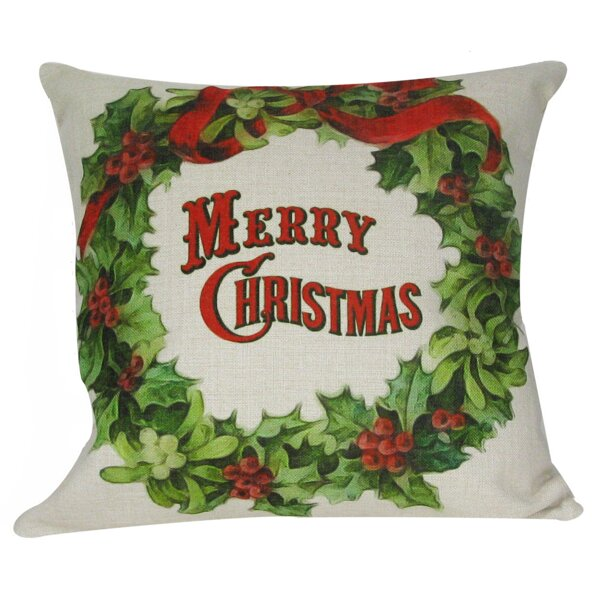Merry Christmas Wreath Throw Pillow by Golden Hill Studio