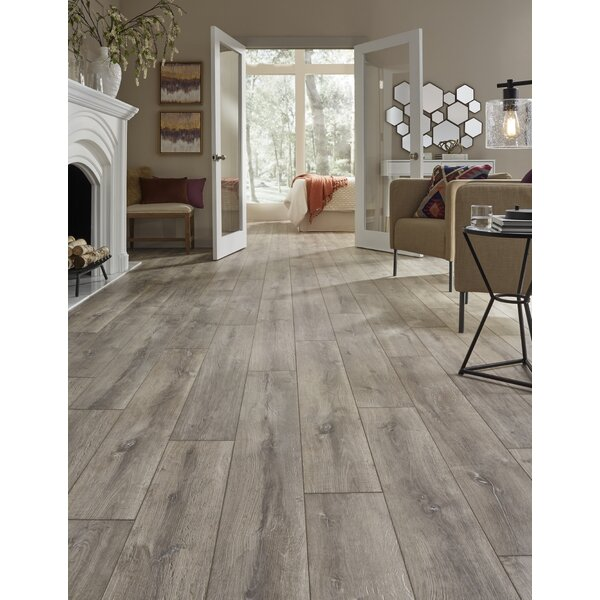 Restoration Wide Plank 8'' x 51'' x 12mm Oak Laminate Flooring in Steam by Mannington
