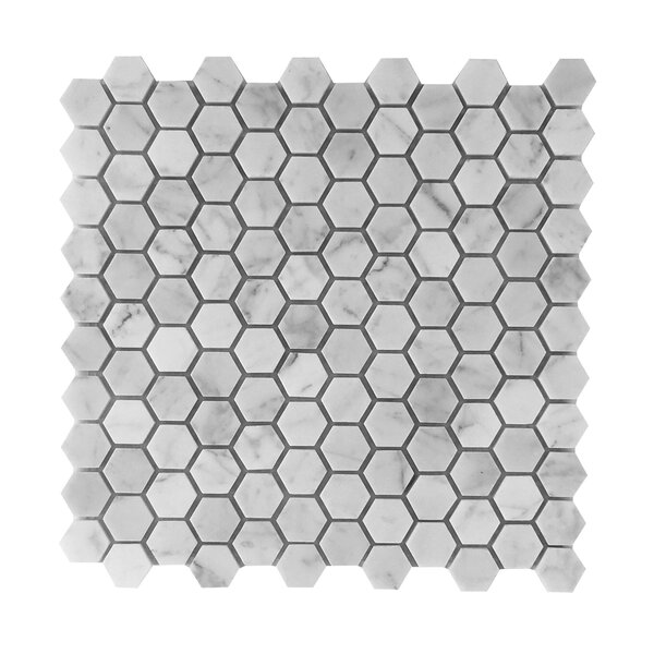 Bianco Carrara 1 Honey Comb Polished Mosaic Tile by Seven Seas