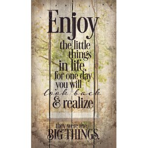 'Enjoy the Little Things' by Tonya Gunn Textual Art on Plaque by Artistic Reflections