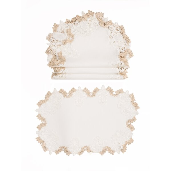 Monticello Elegant Lace Embroidered Cutwork 13 Placemat (Set of 4) by Ophelia & Co.