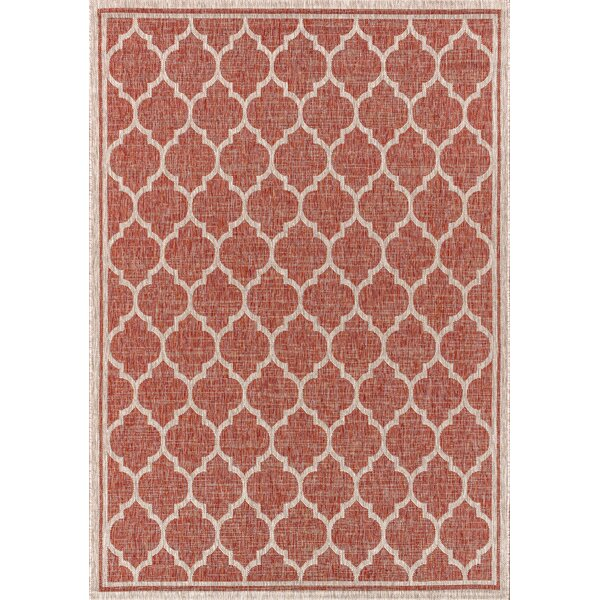 Hague Moroccan Trellis Textured Weave Red Indoor/Outdoor Area Rug by Winston Porter