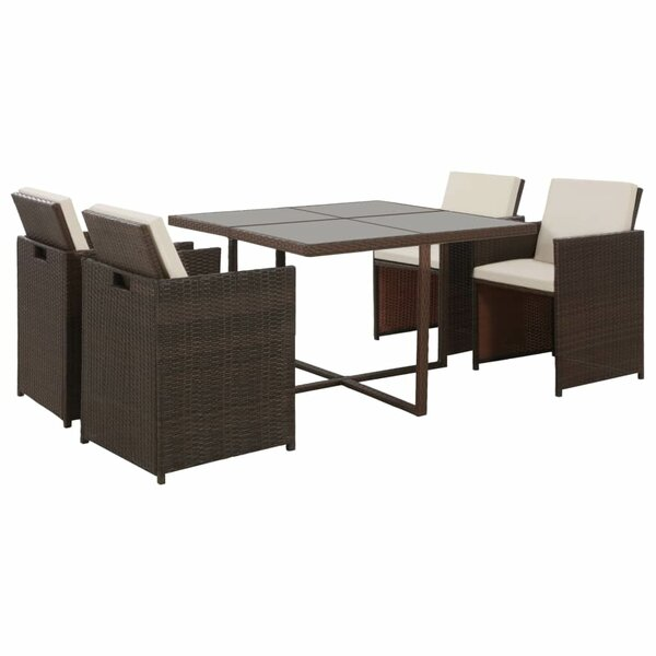 Leacross 5 Piece Dining Set with Cushions by Ebern Designs