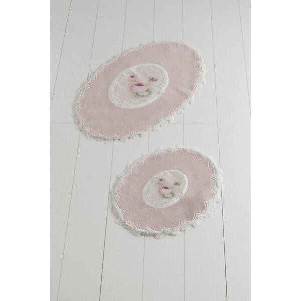 Oswald French Oval Non-Slip Floral piece Bath Rug Set