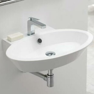 Wish Ceramic 27 Wall Mount Bathroom Sink with Overflow by Scarabeo by Nameeks