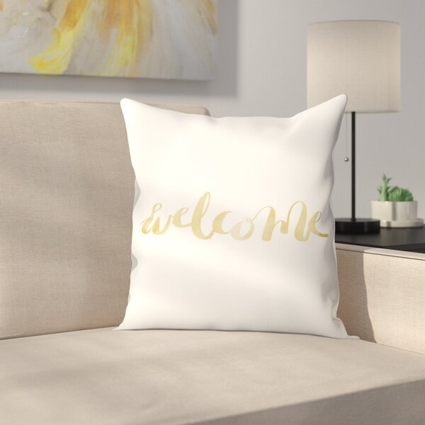 Jetty Printables Welcome Typography Throw Pillow by East Urban Home