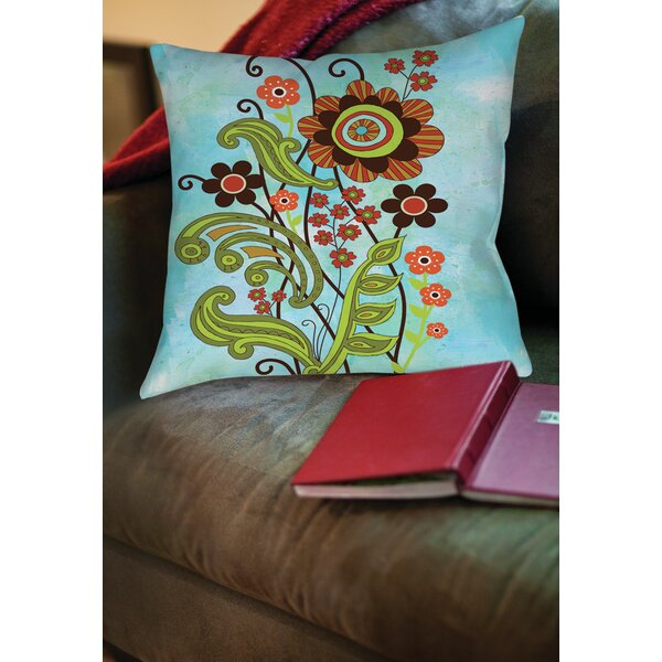 Flower Power Stems Printed Throw Pillow by Manual Woodworkers & Weavers