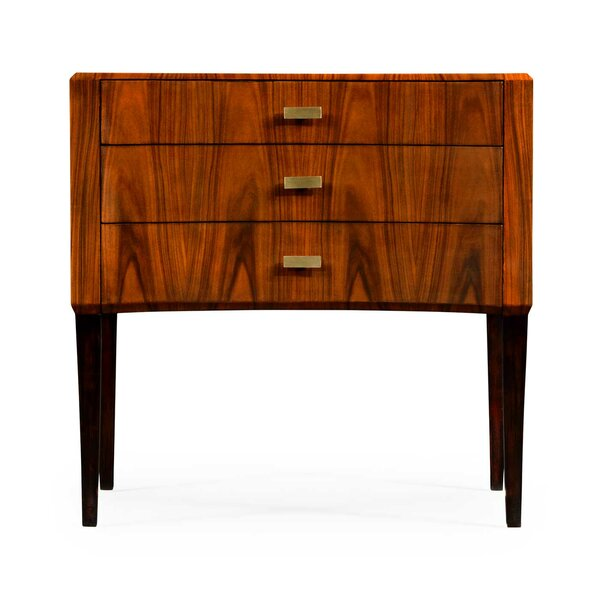 Santos Art Deco Satin Curved 3 Drawer Accent Chest by Jonathan Charles Fine Furniture