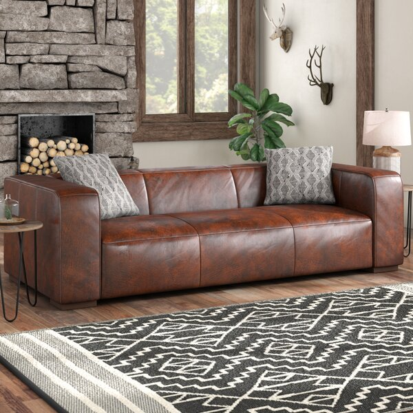 Sherron Leather Sofa by Union Rustic