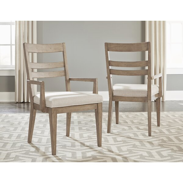 Amina Slat Back Upholstered Dining Chair (Set of 2) by One Allium Way