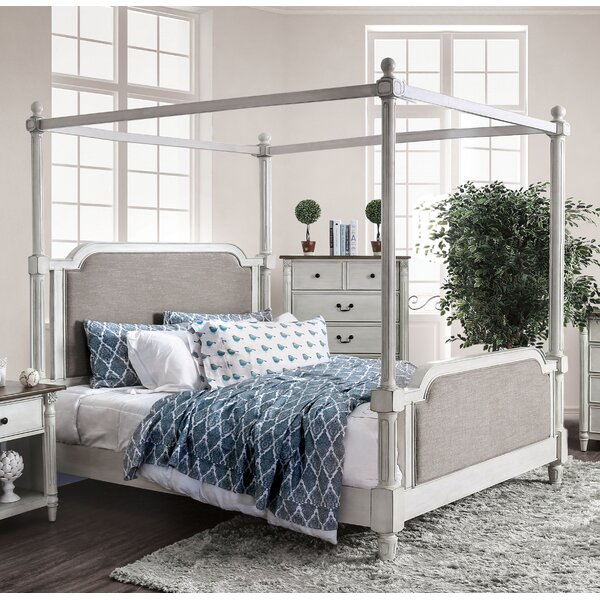 Vickey Upholstered Four Poster Bed by Canora Grey