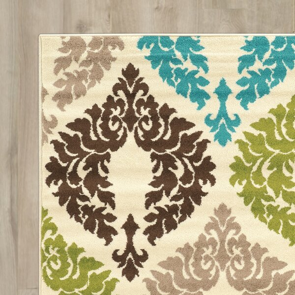 Klong Damask Turquoise/Cream Area Rug by Bungalow Rose