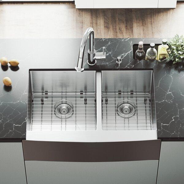 Bingham 33 L x 22  W Double Basin Farmhouse Sink with Sink Grid by VIGO