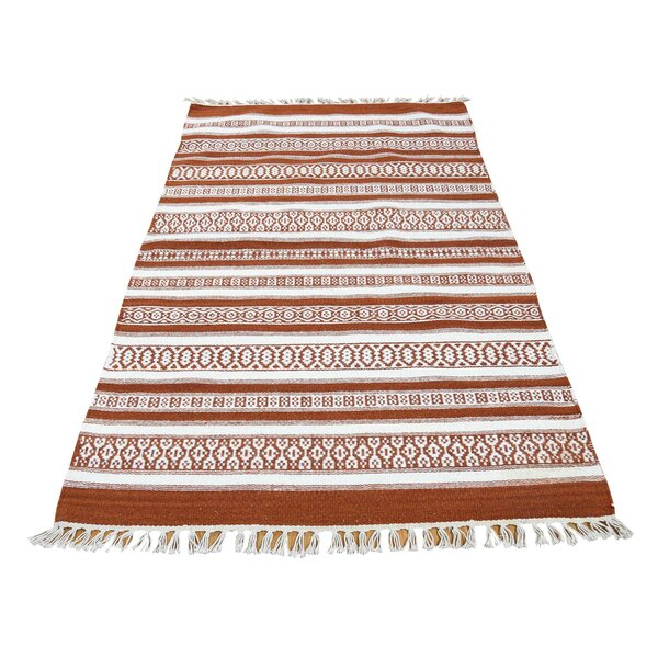 One-of-a-Kind Espalda Kilim Flat Weave Oriental Hand-Knotted Orange/White Area Rug by Millwood Pines