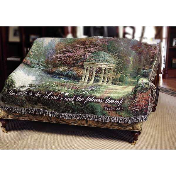 The Garden of Prayer Verse Tapestry Cotton Throw by Manual Woodworkers & Weavers