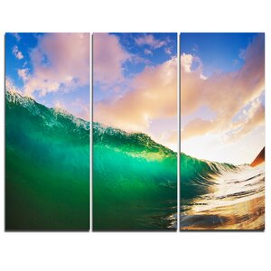 Waves under Cloudy Sky - 3 Piece Graphic Art on Wrapped Canvas Set by Design Art