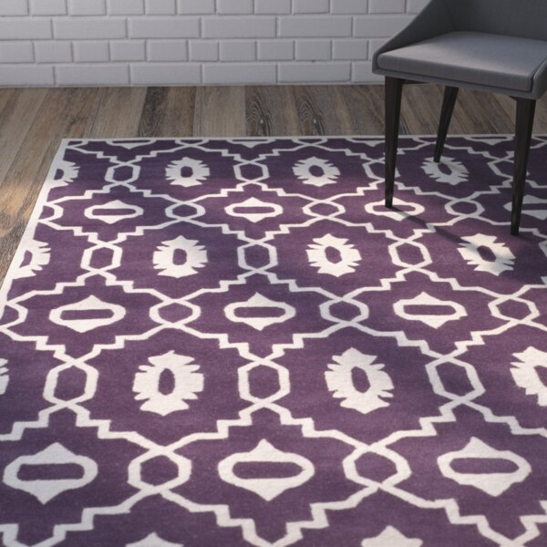 Wilkin Moroccan Hand-Tufted Wool Purple/Ivory Area Rug by Wrought Studio