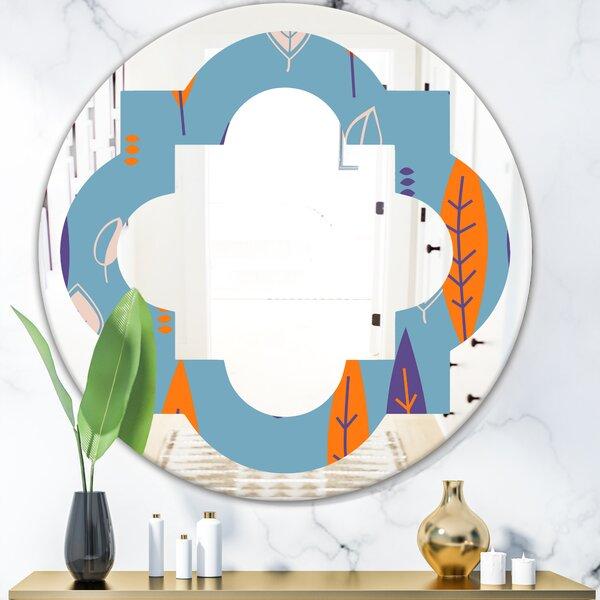 Floral Botanical Pattern II Quatrefoil Eclectic Frameless Wall Mirror
