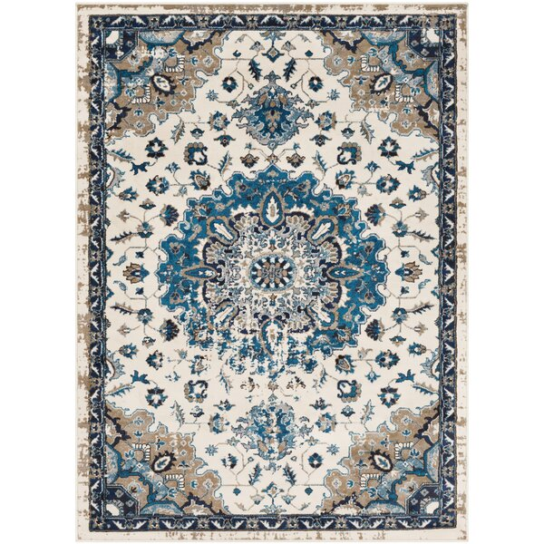 Kent Distressed Vintage Ivory/Sky Blue Area Rug by Charlton Home