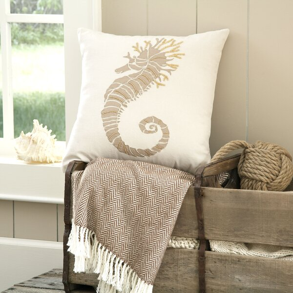 Seahorse Marina Embellished Pillow Cover by Birch Lane™