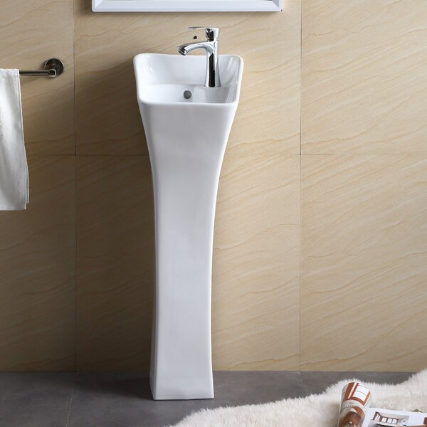 Vitreous China 11 Pedestal Bathroom Sink by Fine Fixtures