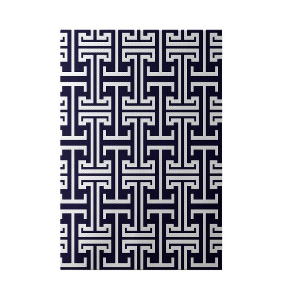 Greek Isles Geometric Print Spring Navy Indoor/Outdoor Area Rug by e by design