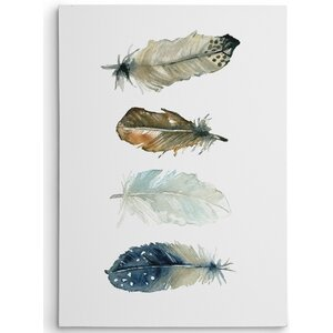 Premium 'Feather Collection I' by Carol Robinson Painting Print on Wrapped Canvas by Wexford Home