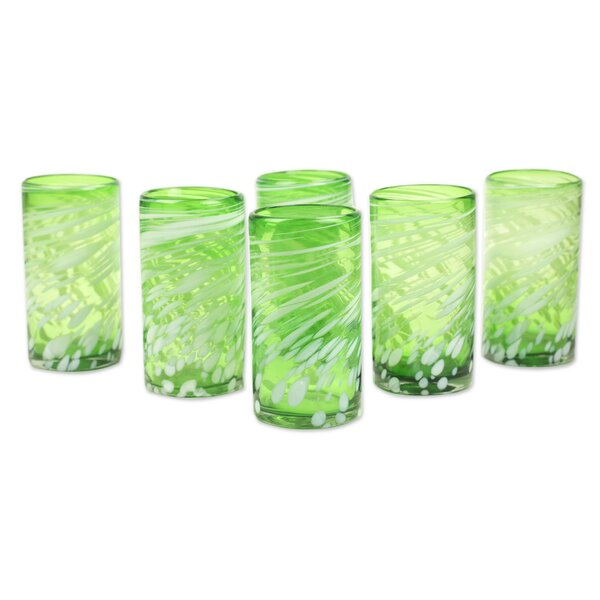 Festive Green 16 oz. Highball Glass (Set of 6) by Novica
