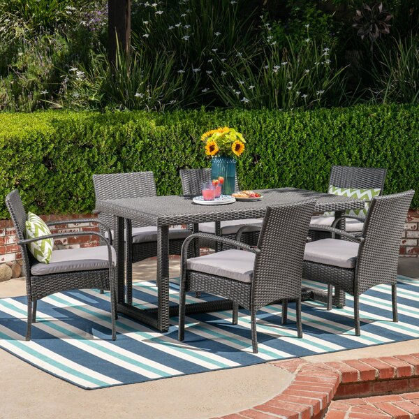 Peabody 7 Piece Dining Set with Cushions by Alcott Hill