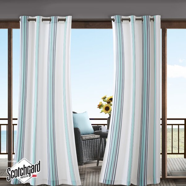 Corbin Striped Light Filtering Outdoor Single Curtain Panel by Beachcrest Home