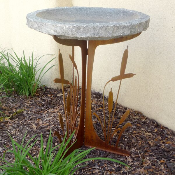 Cattails Silhouette Birdbath by Stone Age Creations