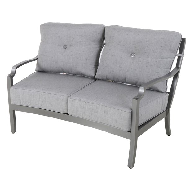 Konevsky Aluminum Outdoor Curved Loveseat with Cushions by Red Barrel Studio
