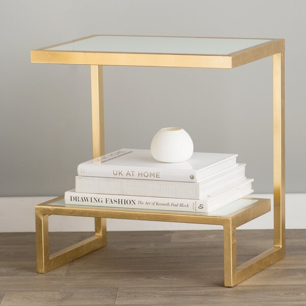 Rex Glass Top Sled End Table With Storage By Willa Arlo Interiors