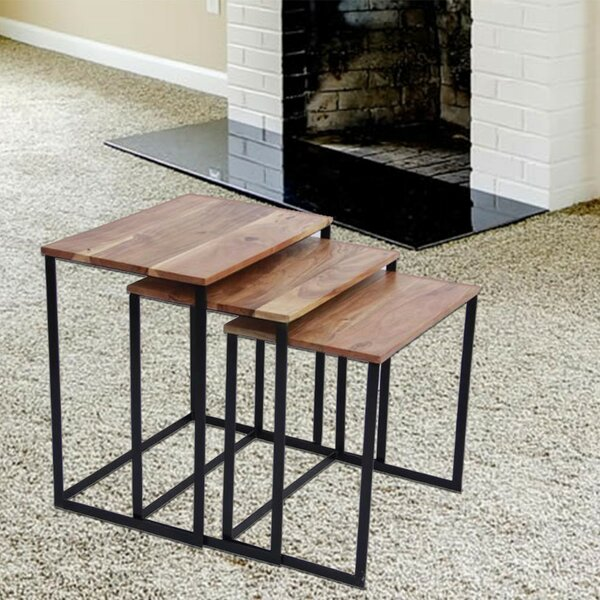 Auden Classic Iron and Wood 3 Piece Nesting Tables by Gracie Oaks