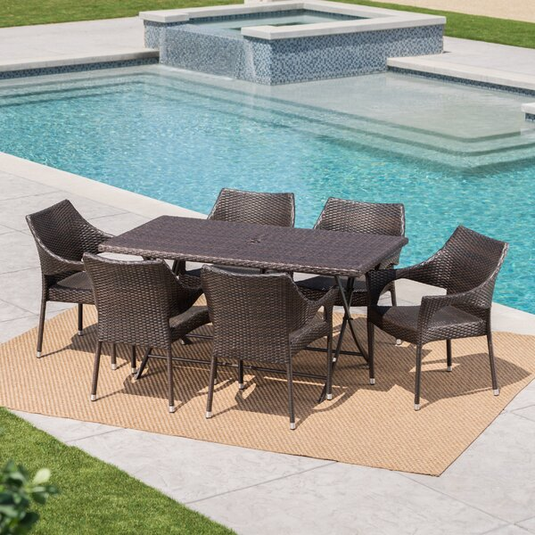 Prashob Outdoor Wicker 7 Piece Dining Set By Orren Ellis