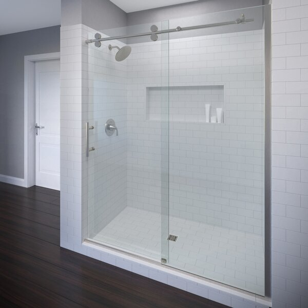 Vinesse 59 x 76 Single Sliding Rolling Door with Fixed Panel Shower Door by Basco