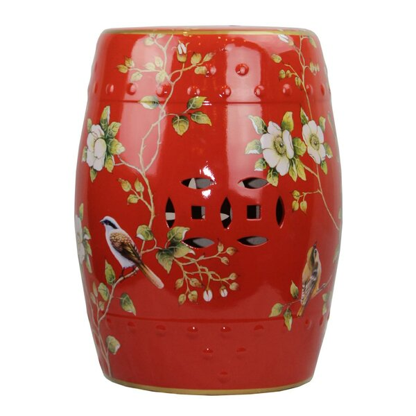 Maness Modern Contemporary Floral Porcelain Garden Stool by World Menagerie