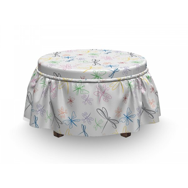 Dragonfly Doodle Bugs 2 Piece Box Cushion Ottoman Slipcover Set By East Urban Home