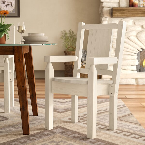 Abella Rustic Hand-Crafted Captain's Solid Wood Dining Chair by Loon Peak