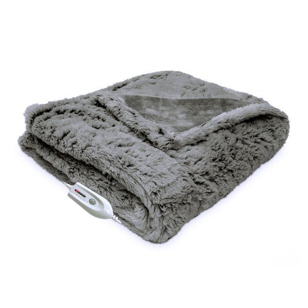 Faux Fur Reversible Electric Heated Throw by Serta