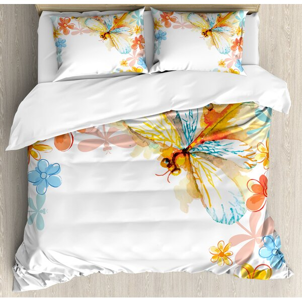 Dragonfly Abstract Grunge Vintage Design Moth with Spring Flowers Floral Frame Art Print Duvet Set by Ambesonne
